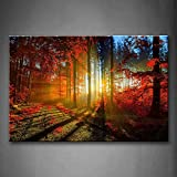 First Wall Art - Mud Road In Pink Forest Bright Lines Wall Art Painting Pictures Print On Canvas Landscape The Picture For Home Modern Decoration