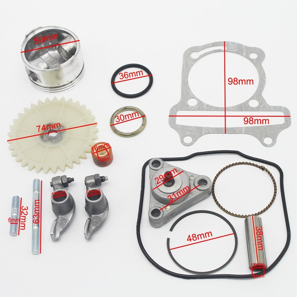 GOOFIT Big Bore Cylinder Rebuild Kit GY6 50cc 139QMB Racing Scooter Parts 64mm Valve by GOOFIT (Image #2)
