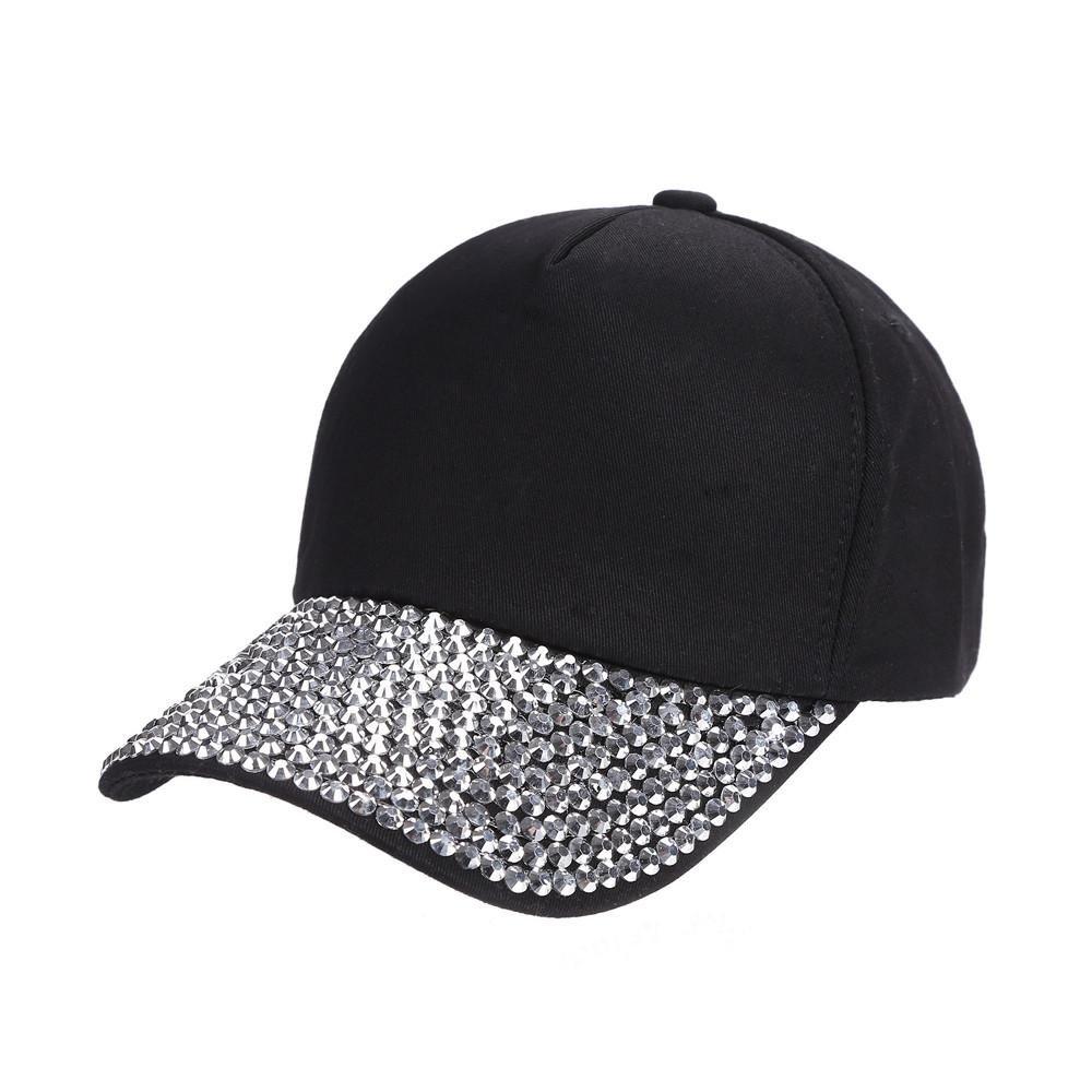 Clearance, Womens Hipster Bling Studded Rhinestone Baseball Cap Snapback Hat Hip Pop Dance Caps Summer Sun Hat (Black)