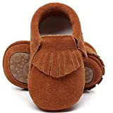 HONGTEYA Leather Baby Moccasins Hard Soled Tassel Crib Toddler Shoes for Boys and Girls (Toddler/2-3 Years/US 9.5/6.29'', Suede Dark Brown)