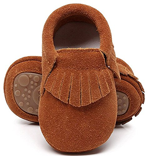 HONGTEYA Leather Baby Moccasins Hard Soled Tassel Crib Toddler Shoes for Boys and Girls (Toddler/2-3 Years/US 9.5/6.29'', Suede Dark Brown) ()