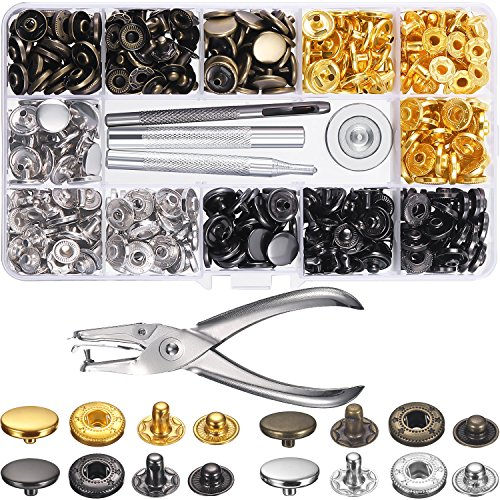 Chuangdi 120 Set Sewing Snap Fasteners Kit Metal Snaps Button Press Studs Punch Pliers 4 Pieces Fixing Tool Kit Clothes Craft Repairs Decoration, 4 Colors