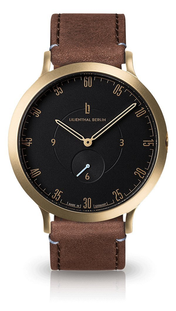 Lilienthal Berlin -Made in Germany- ベルリンの新しい時計モデル L1 ステンレススチール ケース B01N554KFX サイズ: 37.5 mm|ケース: ゴールド/ ダイアル: ブラック/ ストラップ: ブラウン ケース: ゴールド/ ダイアル: ブラック/ ストラップ: ブラウン サイズ: 37.5 mm