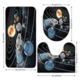 3 Piece Bathroom Mat Set,Galaxy,Solar-System-All-Eight-Planets-and-the-Sun-Pluto-Jupiter-Mars-Venus-Science-Fiction,Black-Grey.jpg,Bath Mat,Bathroom Carpet Rug,Non-Slip