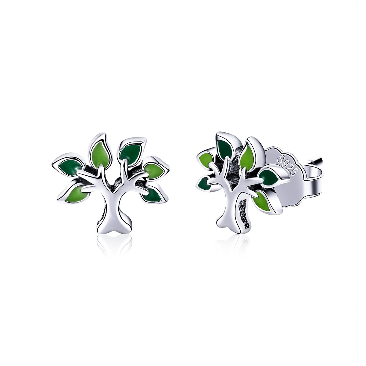 BISAER Tree of Life 925 Sterling Silver Stud Earrings with Green Enamel Leaves, Cute Post Stud Earring Hypoallergenic Jewelry for Women. by BISAER (Image #1)