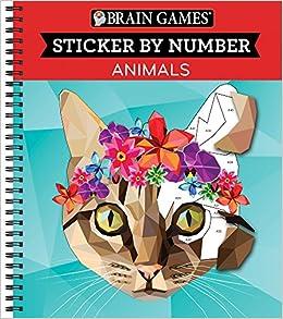 Amazon Com Brain Games Sticker By Number Animals
