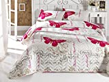DecoMood Butterfly Bedding, Full/Queen Size Bedspread/Coverlet Set, Butterfly Themed Girls Bedding, 3 PCS, White Red