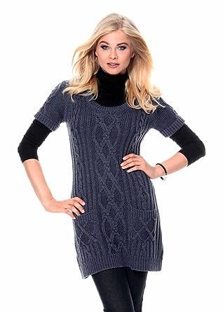 78c130c99059b4 Cheer Damen-Pullover Long-Pullover melange Blau Größe 40: Amazon.de ...