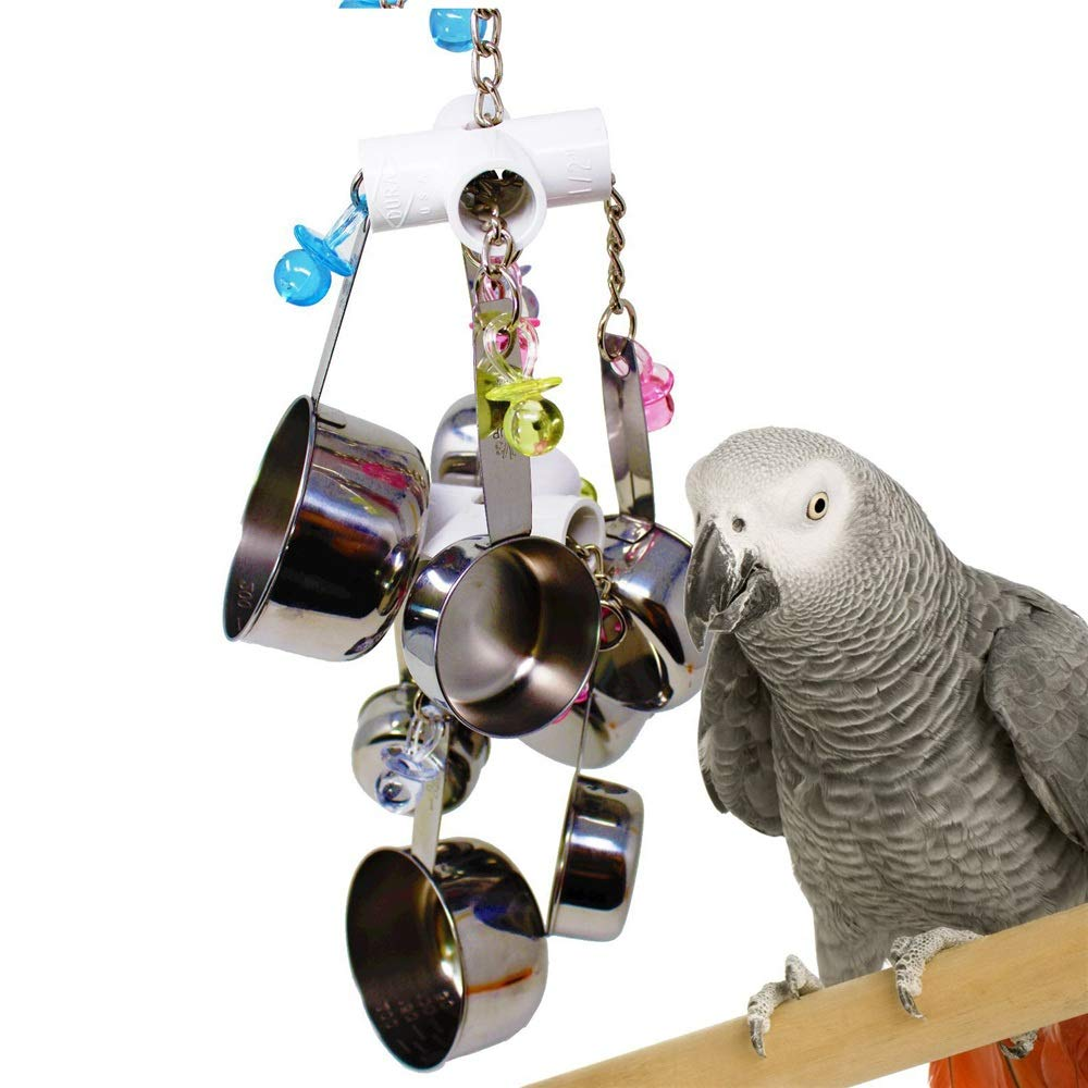 Bird Stainless Steel Cage Toys for Parakeet Cockatiel Parred Bite Toy Bird Toy Stainless Steel Swing Ladder