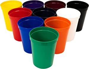 CSBD Stadium 16 oz. Plastic Cups, 10 Pack, Blank Reusable Drink Tumblers for Parties, Events, Marketing, Weddings, DIY Projects or BBQ Picnics, No BPA (Assorted)