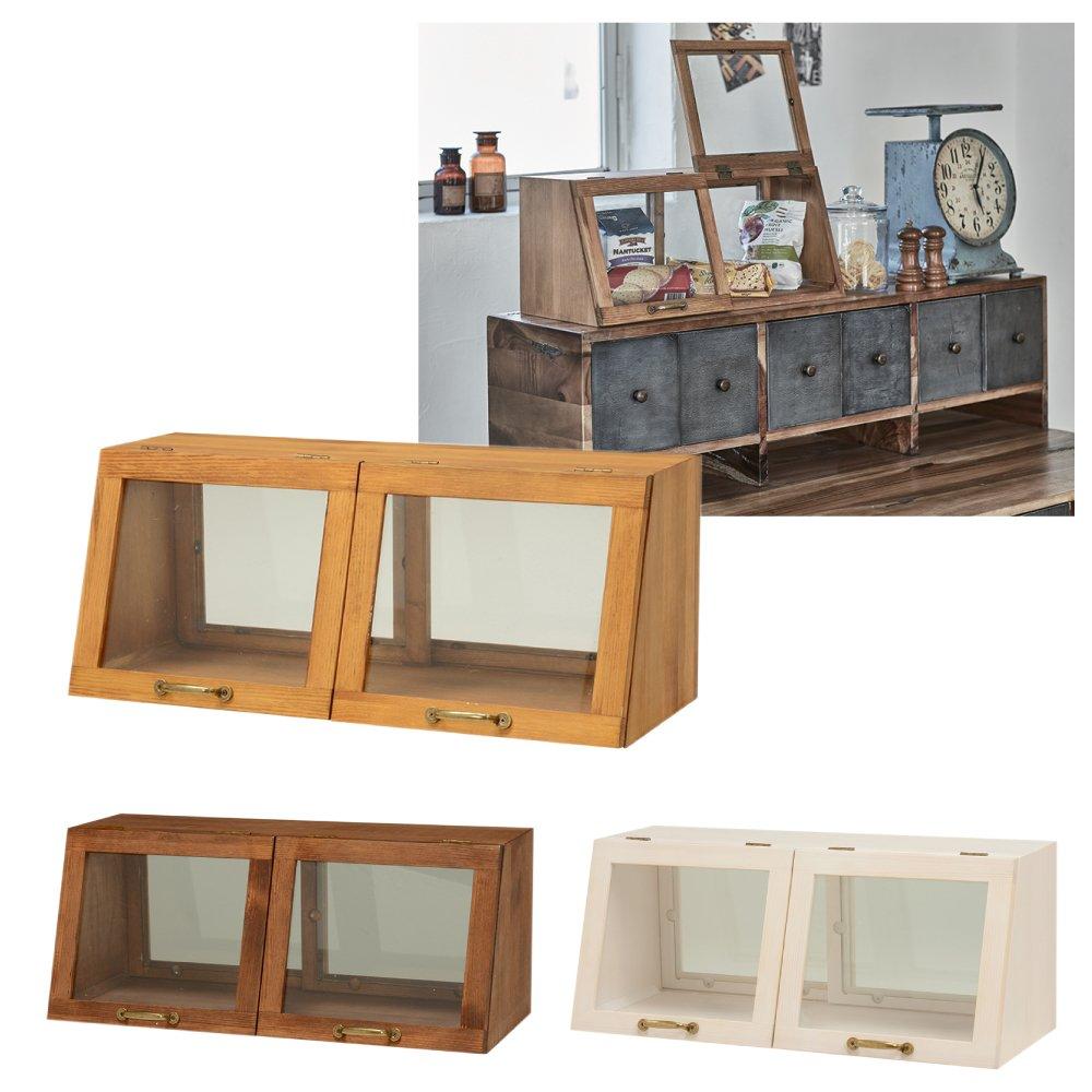 台所 カウンター 収納 木製 キッチン カウンター上ガラスケース MUD-6067(ナチュラル) B077T8L18G ナチュラル ナチュラル