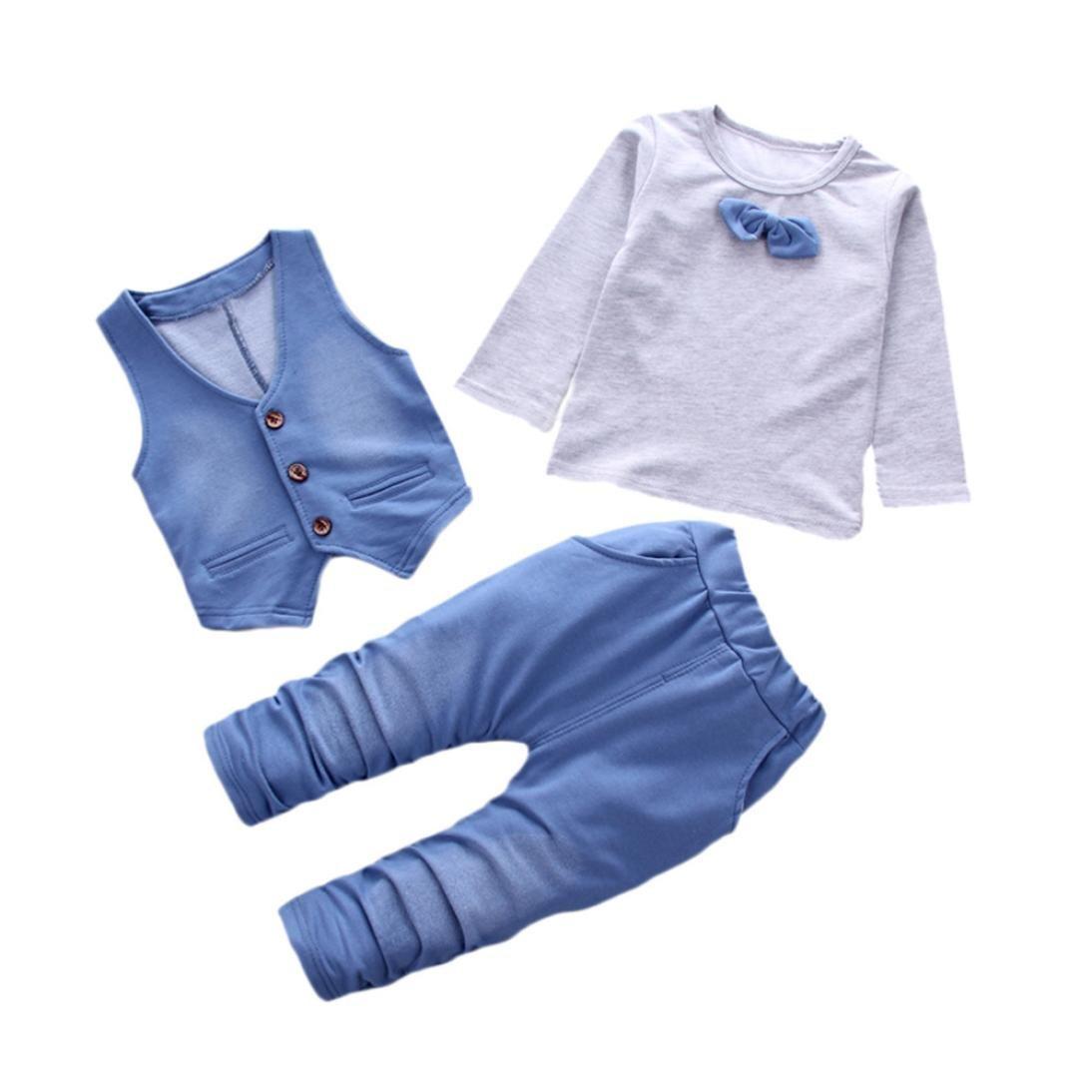 ❤ 3pcs Neonato Gentiluomo Completini ❤ Manica Lunga Bowknot Cravatta T-Shirt Camicia + Con Bottoni Gilet + Denim Pantaloni Bambino Set