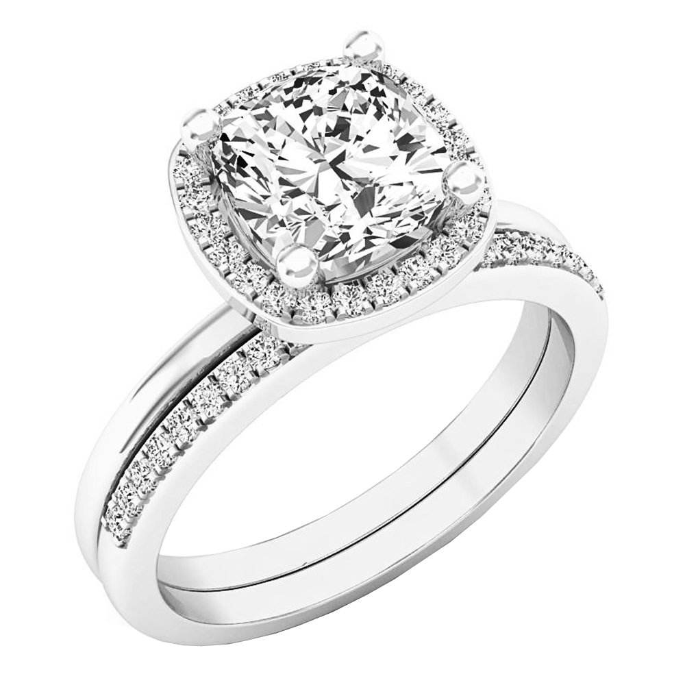 Dazzlingrock Collection 10K 7 MM Cushion Lab Created White Sapphire & Round Diamond Ladies Ring Set, White Gold, Size 7