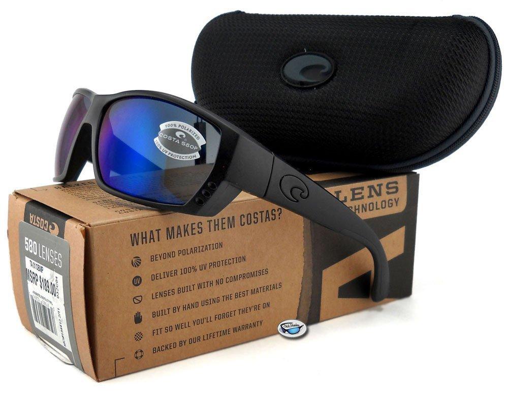 Costa Del Mar Tuna Alley Sunglasses, Blackout, Blue Mirror 580 Plastic Lens