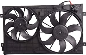 Bapmic 1K0121207BB Front Radiator Cooling Fan Assembly for Volkswagen Beetle Golf Jetta Rabbit 2.0L 2.5L 2005-2015