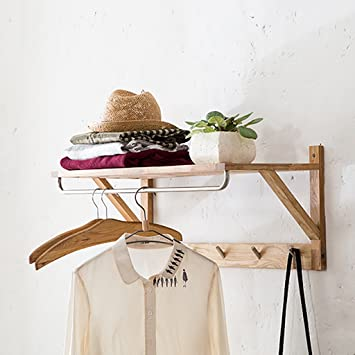 Zxymj Wall Mounted Clothes Rail Coat Rack Wall Hanging Wood Wall