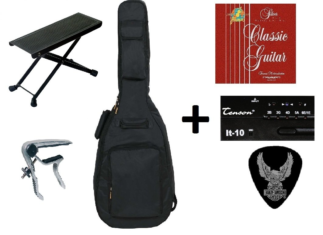 Zound House All Access 3/4  Classical Guitar Accessory Pack Consisting of Guitar Bag with Guitar Strap, Strings, Tuner, Footstool, Capo and Plectrum (Over 50% Price Reduction) Zoundhouse