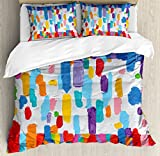 Art Duvet Cover Set King Size by Ambesonne, Hand Made Colorful Abstract Painting Contrasting Colors French Flag Pattern Brush Mark, Decorative 3 Piece Bedding Set with 2 Pillow Shams, Multicolor