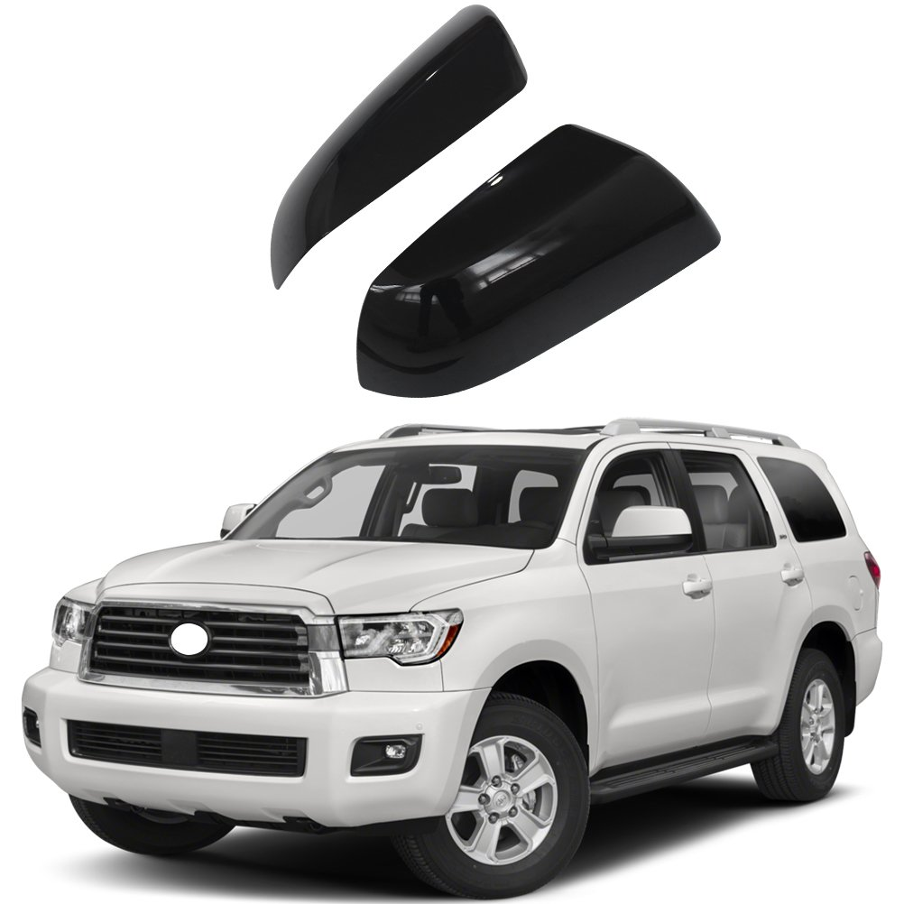 NINTE for 2007-2019 Toyota Tundra /& Sequoia Gloss Black Top Half Mirror Covers