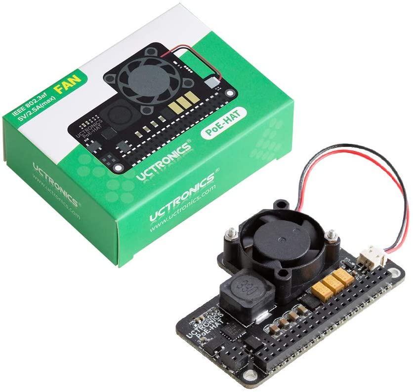 UCTRONICS PoE HAT for Raspberry Pi 4, Mini Power Over Ethernet Expansion Board for Raspberry Pi 4 B 3 B+, with Cooling Fan