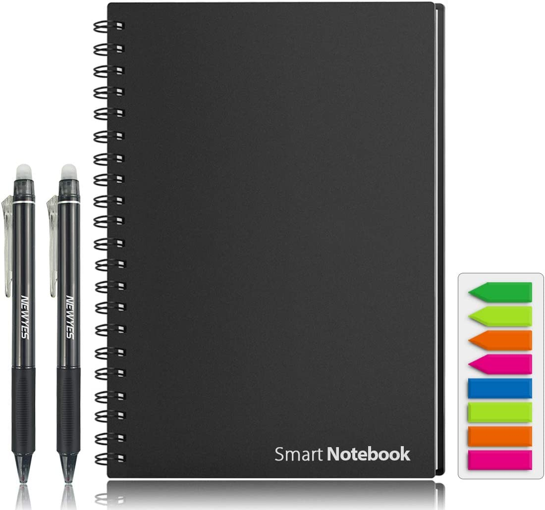 "Smart Reusable Notebook, HOMESTEC College Ruled Eco-Friendly Notebook with 2 NEWYES Erasable Pen & Sticky Notes Included,Letter Size (8.7"" x 11.2"")"