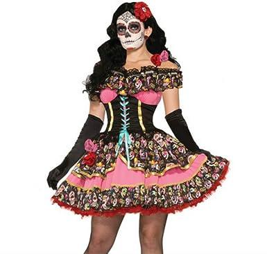 Disfraces Carnaval muje Traje Adulto Flor Azúcar Calavera Vestido ...