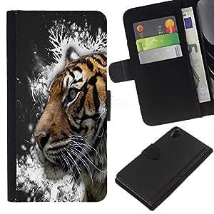 Sony Xperia Z2 D6502 D6503 D6543 L50t L50u , la tarjeta de Crédito Slots PU Funda de cuero Monedero caso cubierta de piel ( Tiger Snow Crystals Painting Grey)