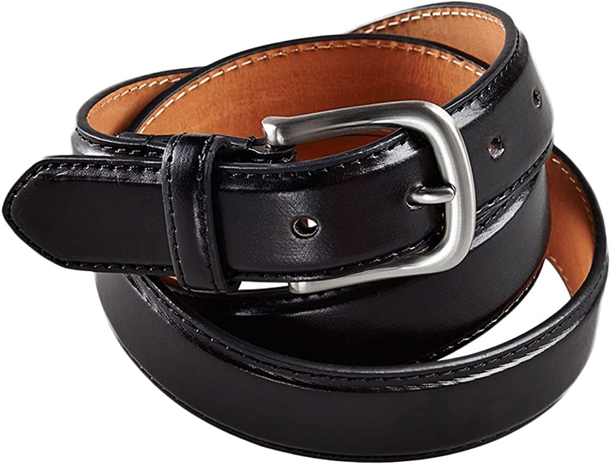 Edwards Garment Mens Leather Brushed Nickel Buckle Belt