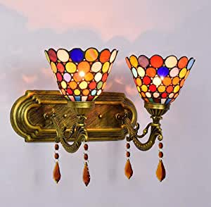 Tiffany Style 2-Arms Wall Lamp,Vintage Stained Glass Shade Wall Light, Indoor Wall Mount Sconce for Bedroom Living Room Hallway, E27,Patch