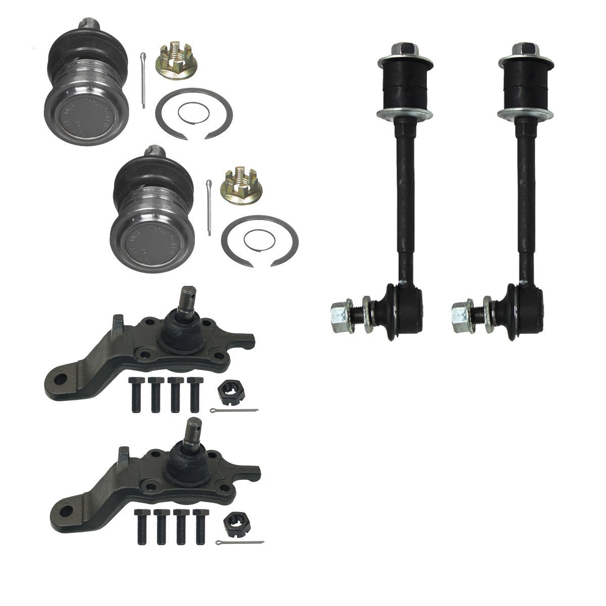 Detroit Axle - Brand New All (4) Front Upper and Lower Ball Joints and Both (2) Front Stabilizer Sway Bar End Links 10-Year Warranty - 1996-2002 Toyota 4Runner [NOT FOR PRE-RUNNER]