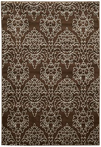 Linon Collection Elegance Damask Brown, 8 x 10
