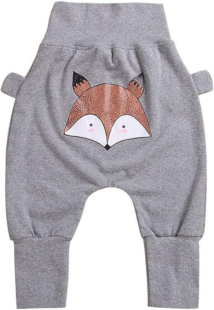Bequeme Kinder-Hose mit elastischem Bund mit Cartoon Fuchs-Muster schadstoffgepr/üft aus Fleece Ucoolcc Kinder Baby Pump-Hose