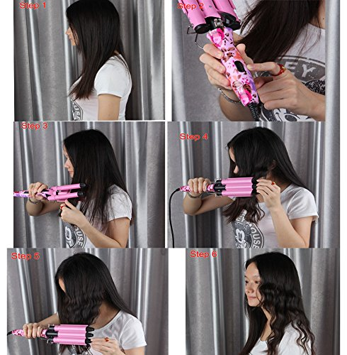 """Price comparison product image NPLE--Pink King Size 3 Barrels Big Hair Wave Waver Ceramic Curler Curl Curling 7/8 """""""