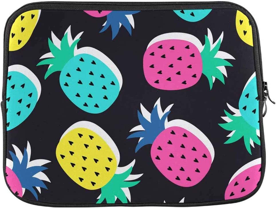 INTERESTPRINT Laptop Sleeve Case Cover Pineapple Fruit Crazy Colors Pattern Notebook Computer Pouch Bag 14 Inch 14.1 Inch