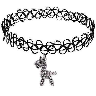 c810a56ced350 Vintage Stretch Tattoo Pendant Choker Necklace Henna Elastic Retro Collar  90s