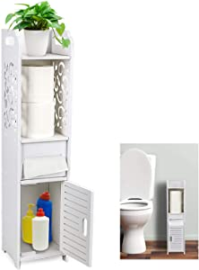 Gotega Small Bathroom Storage Toilet Paper Storage Corner Floor Cabinet with Doors and Shelves Hollow Carved Design Bathroom Organizer Furniture Corner Shelf for Paper Shampoo, White