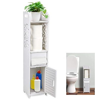 Buy Gotega Small Bathroom Storage Toilet Paper Storage Corner Floor Cabinet With Doors And Shelves Hollow Carved Design Bathroom Organizer Furniture Corner Shelf For Paper Shampoo White Online In Indonesia B086vgnt1q