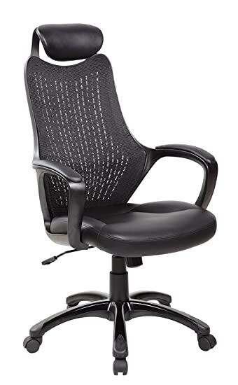 high back mesh office chair with leather effect headrest. eurostile ergonomic high back executive mesh office chair with headrest black 8114bk leather effect