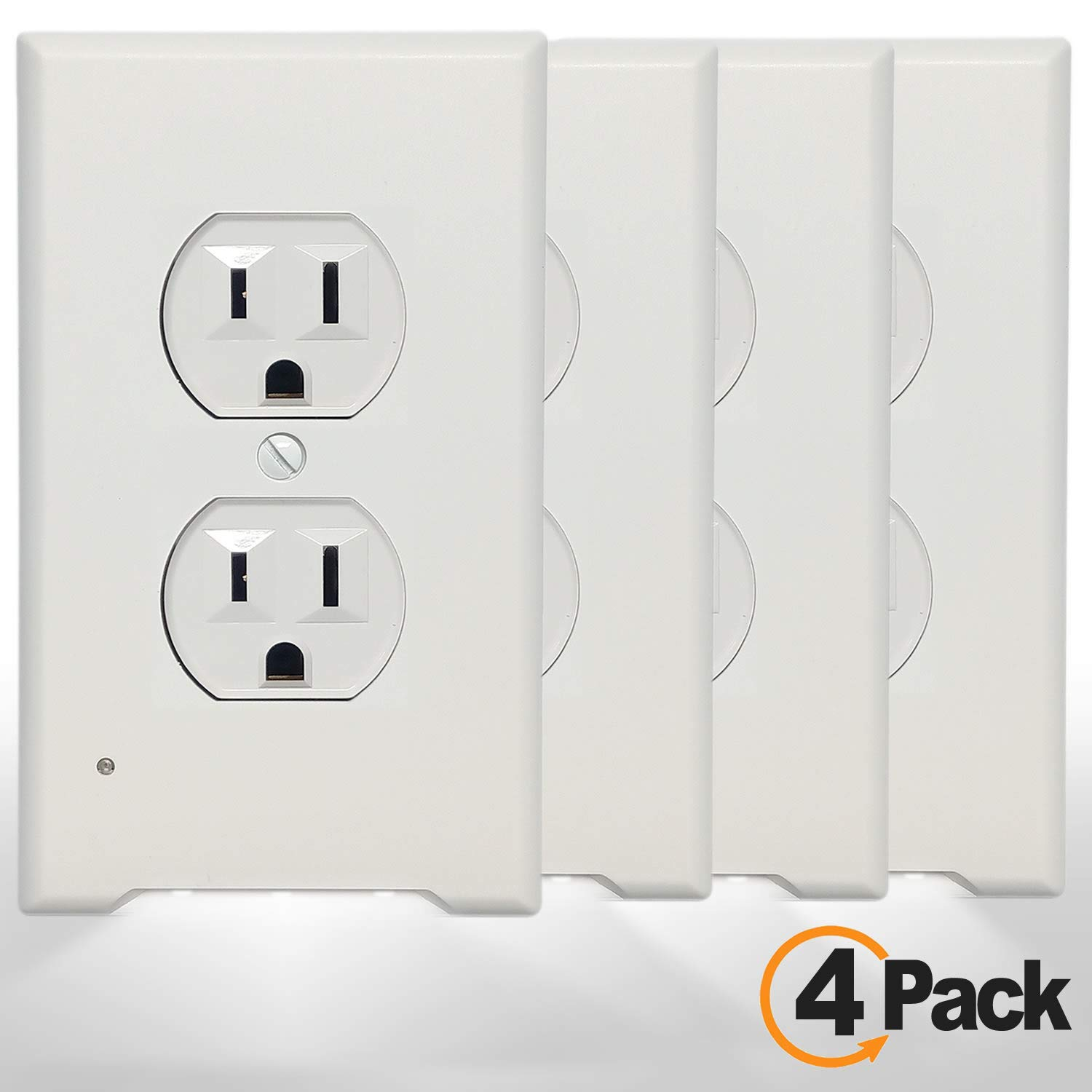 4Pack LED Night Light Outlet Cover Plate-No Wires Or Batteries,Light Sensor Auto-On LED Guidelight,Install In a Snap,Outlet Wall Plate With 0.3W High Brightness Night Light (White,Duplex)