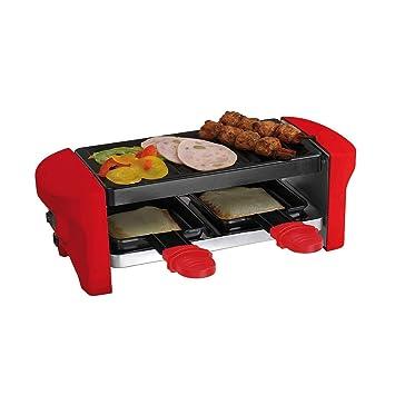 Mesa parrilla Raclette para 2 personas rojo 2 sartenes (Barbacoa Eléctrica, revestimiento antiadherente, Indoor Barbacoa, pequeño): Amazon.es: Hogar