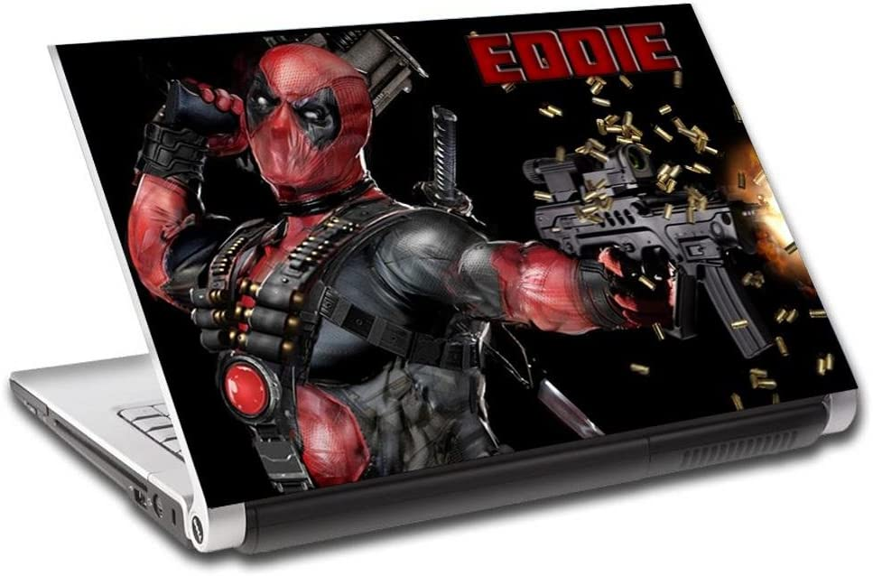 Deadpool Personalized LAPTOP Skin Vinyl Decal Sticker WITH YOUR NAME Marvel L114-15.6""