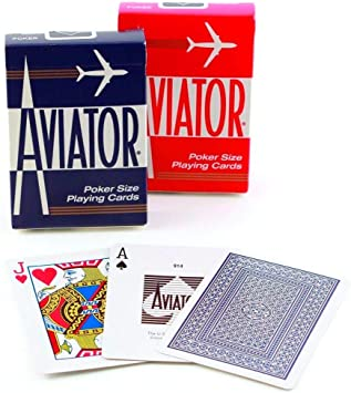 Caja de barajas Aviator Indice Grande (6 Rojo / 6 Azul): Amazon.es ...