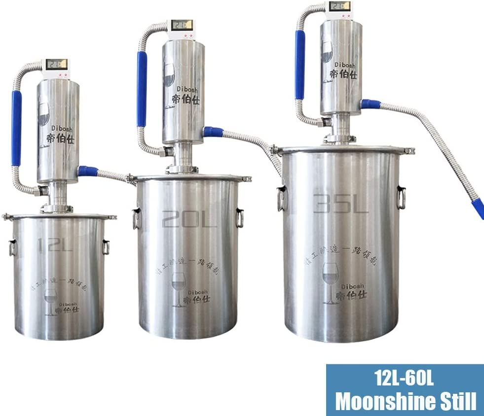 YUEWO DIY Home Moonshine Still Alembic Spirits Alcohol Essential Oil Water Distiller 304 Stainless Steel Wine Making Kit (3.2 Gallon/12L)