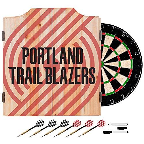 Trademark Gameroom NBA7010-PTB2 NBA Dart Cabinet Set with Darts & Board - Fade - Portland Trailblazers by Trademark Global