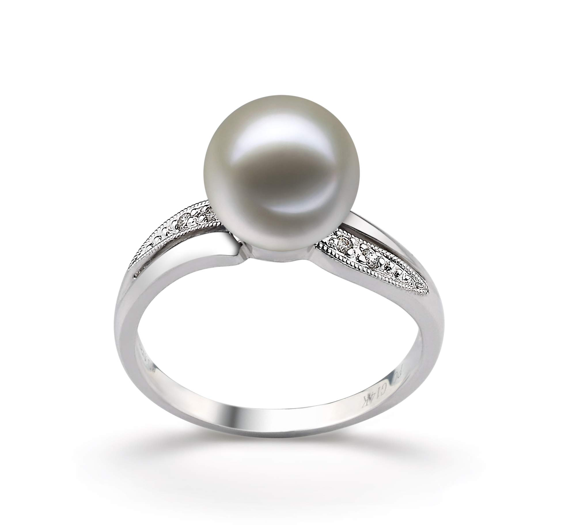 Caroline White 9-10mm AAAA Quality Freshwater 14K White Gold Cultured Pearl Ring For Women - Size-7