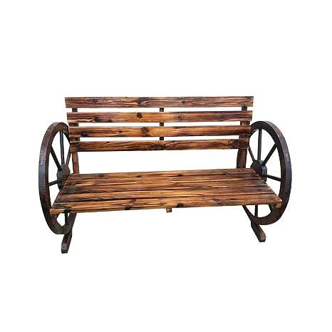 Cool Elevenfurniture Wooden Seater Wagon Wheel Garden Patio Bench Machost Co Dining Chair Design Ideas Machostcouk