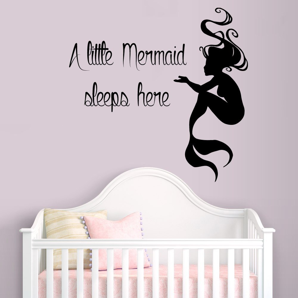 Amazon wall decals vinyl decal sticker words quote a little amazon wall decals vinyl decal sticker words quote a little mermaid sleeps here water nymph girl room bedding bathroom decor kg843 home kitchen amipublicfo Images