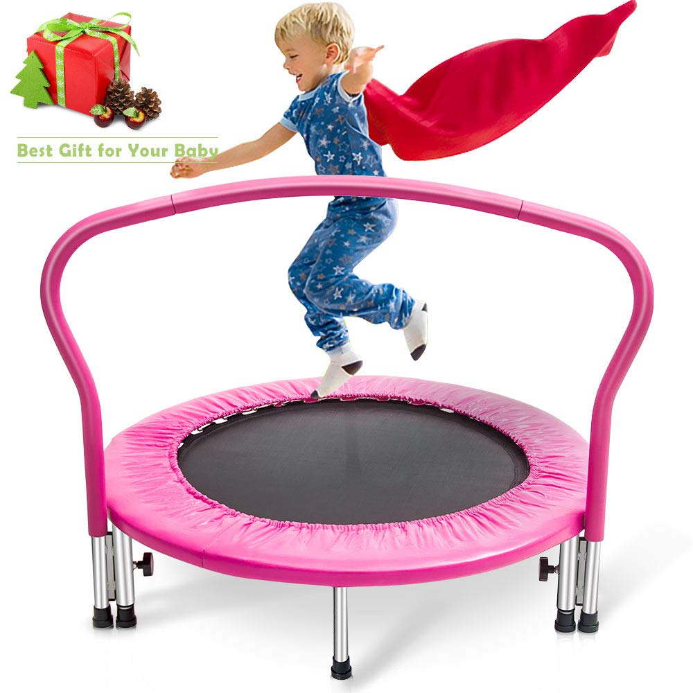 Merax 36'' Kid's Mini Exercise Trampoline Portable Trampoline with Handrail and Padded Cover (Pink2019) by Merax