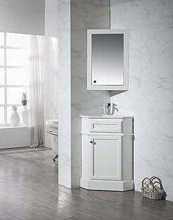 Stufurhome TY 415PW Modern Hampton Corner Bathroom Vanity With Medicine  Cabinet, White, 27