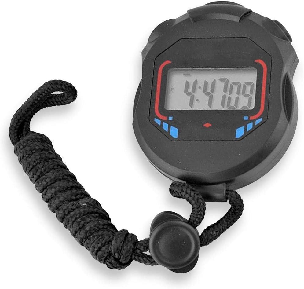 OcioDual Cronometro Digital Deportivo Temporizador Reloj Alarma XL-013 Negro Pantalla LCD Luz con Correa para Atletismo Natacion